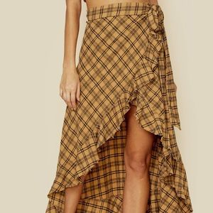 Blue Life Aura Flannel Skirt in Mustard Plaid